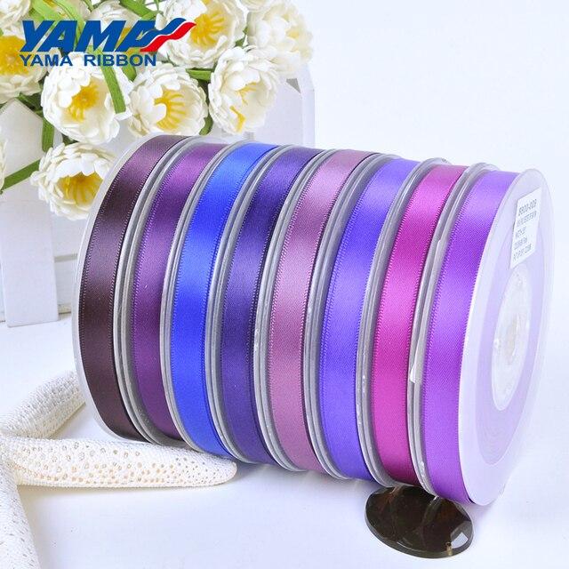 Yama 50 57 63 75 100 mm 100 jardas/lote dupla face fita de cetim roxo para festa de casamento decoração artesanal flores rosa artesanato