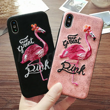 Luxury 7 Patterns Handmade 3D Embroidery Flamingo Pink Panther Phone Case For iPhone 6 6S 8 Plus X Leather Tiger Back Cover