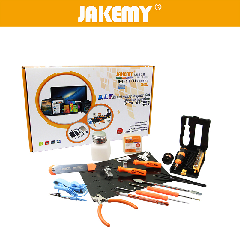 JAKEMY 49 in 1 DIY Electronic Repair Tools Set Screwdriver Pliers Platform Board Hand Tools For