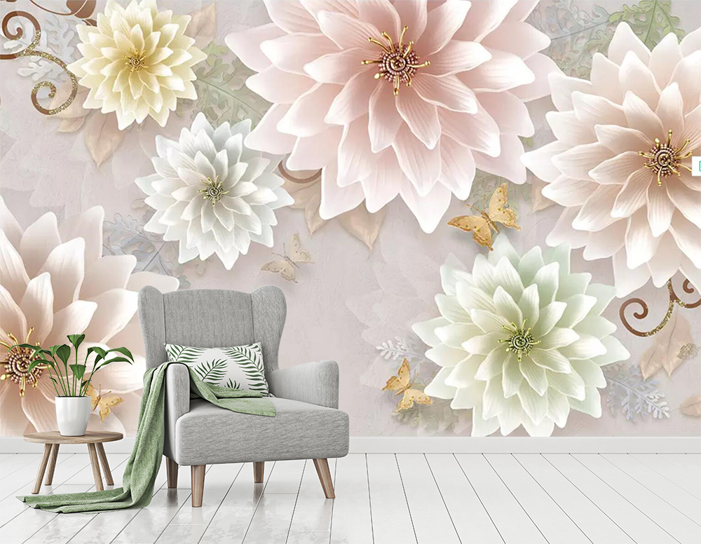 [Self-Adhesive] 3D Bloom Pink Flowers 6 Wall Paper Mural Wall Print Decal Wall Murals