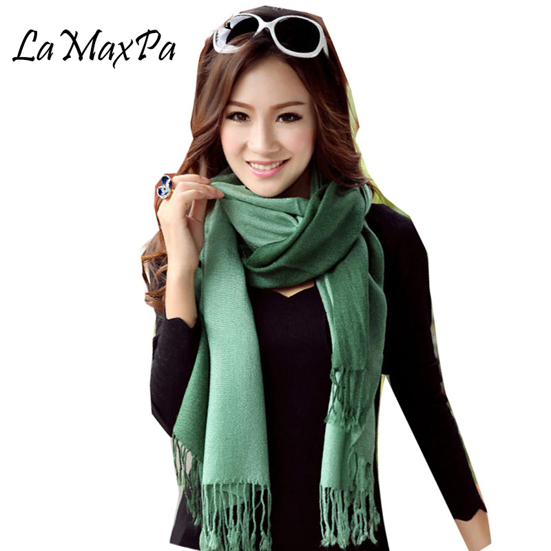 LaMaxPa 2018 New Fashion Winter Scarf For Women Silk Acrylic Solid Pashmina Gradient Pure Color Scarf Shawl With Tassel Scarf