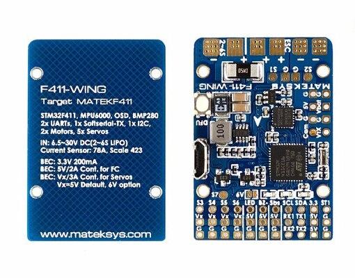 Matek sistemas F411-WING stm32f411 controle do controlador de vôo com inavosd mpu6000 bmp280 apoio asa da mosca asa fixa rc avião