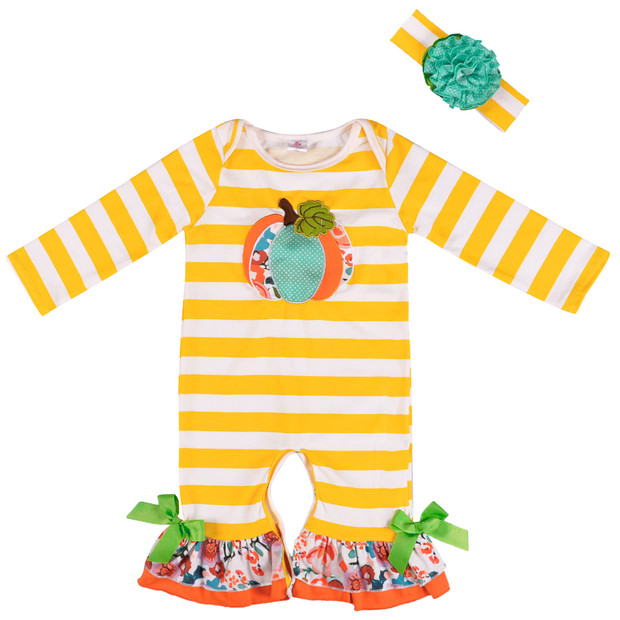 Newest Children Clothing Infant   Romper   Cute Girl Pumpkin Outfit Baby Holloween Day Cotton Boutique With Boy   Romper   BPF806-036
