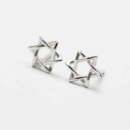 Real 925 Sterling Silver David Star Stud Earrings for Women Girls Fashion sterling-silver-jewelry brincos brinco