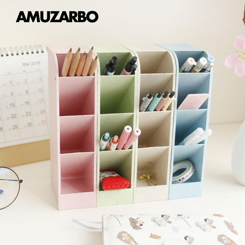 Multi-function 4 Grid Desktop Pen Holder Office School Storage Case Made By Eco-friendly Wheat Straw Desk Pen Pencil Organizer(China)