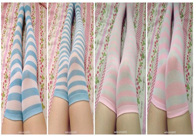Azul e branco tarja over the knee meias meias de presente de aniversário