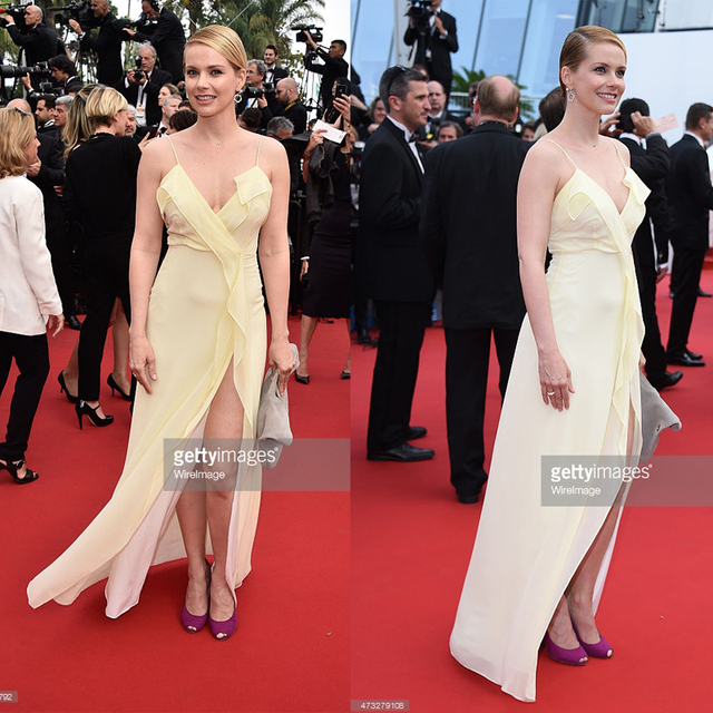 Andrea Osvart 2015 Cannes Gala Red Carpet Celebrity Dress Light Yellow  A-Line Summer Style 5ee4e52b8b54