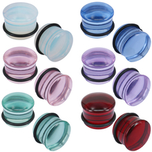 ZS 2PCS 5-16MM Glass Ear Expander 6 Color Plugs Tunnels Gauges Body Piercing Jewelry for Women Men Tunnel