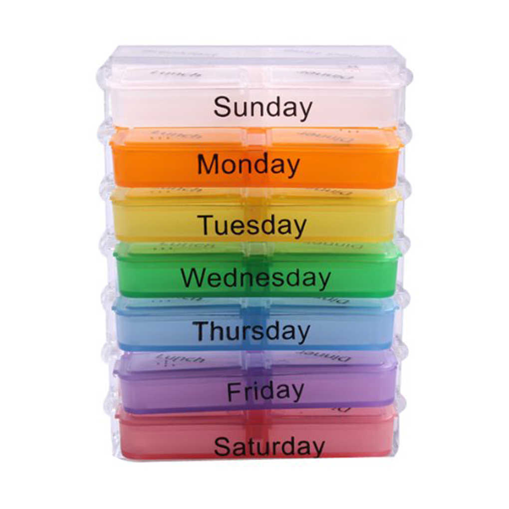 Hot Sale Medicine Weekly Storage Pill 7 Days Tablet Sorter Box Container Case Organizer