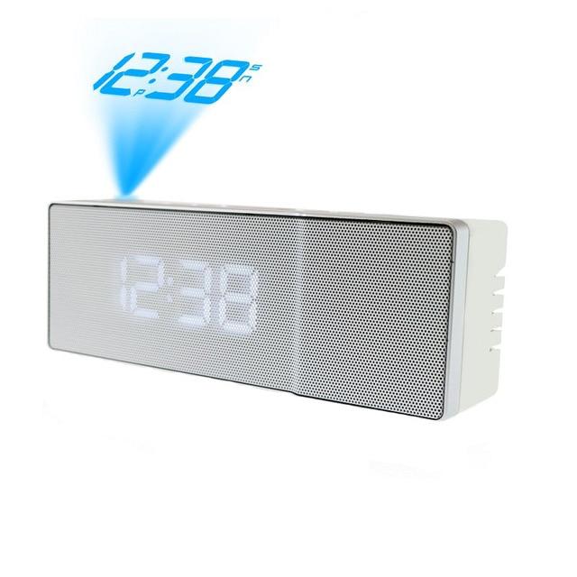 688f6cd39b5 Projetor rádio Função Snooze Alarm Clock Digital LED Relógio USB Com Luz de  Fundo Duplo Sino