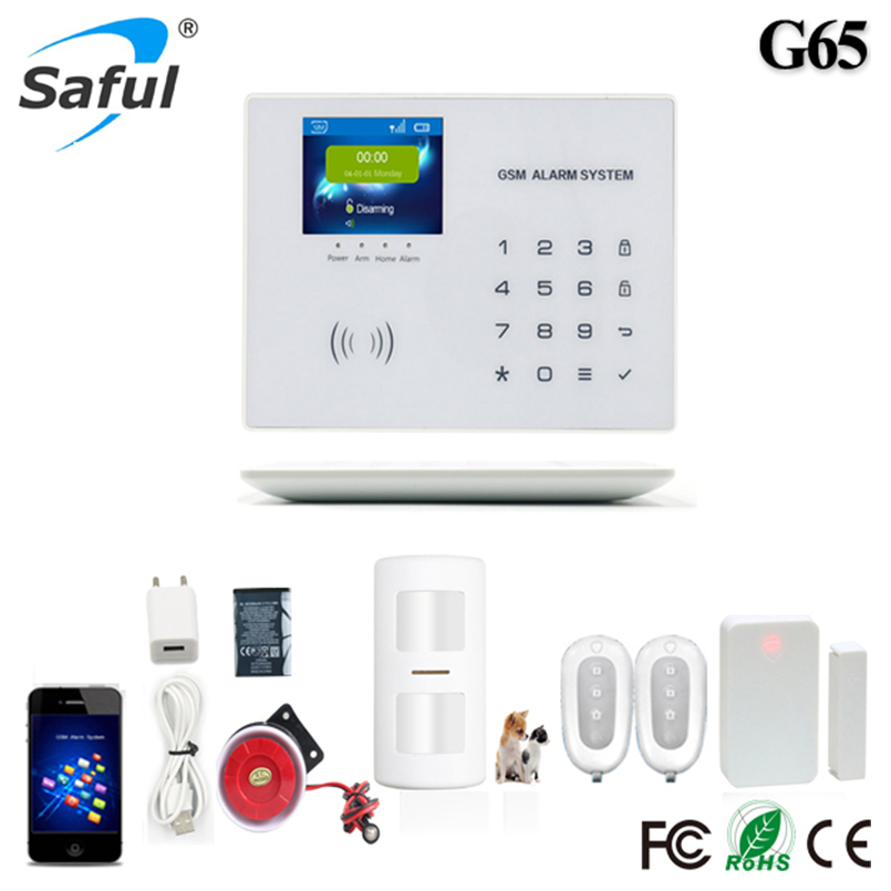 GSM Alarm system Wireless Home security Alarm systems LCD with G65 ios/android APP LCD touch yobangsecurity touch keypad wifi gsm ios android app wireless home burglar security alarm system smoke sensor fire detector