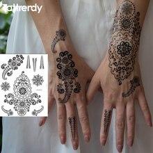 1piece Waterproof Temporary Tattoo Stickers Men Women Big Flash Lace Design Arabic Black White Henna Tattoos Arm Hand S1015B