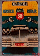 1 pc Car repair route 66 garage mechanic service Tin Plate Sign wall plaques Man cave vintage Dropshipping metal Poster