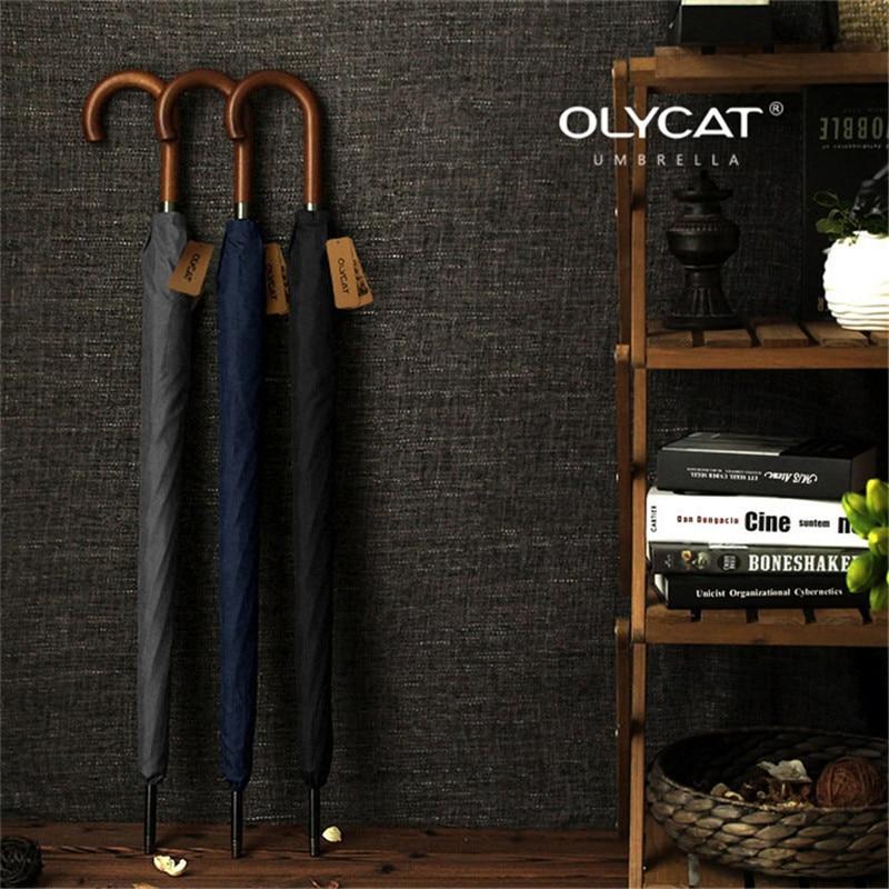 OLYCAT Marca a Longo Punho De Madeira Semi Automática Grande Guarda-chuva Guarda-chuva Japonês Homens 8 K À Prova de Vento Guarda Chuva Paraguas
