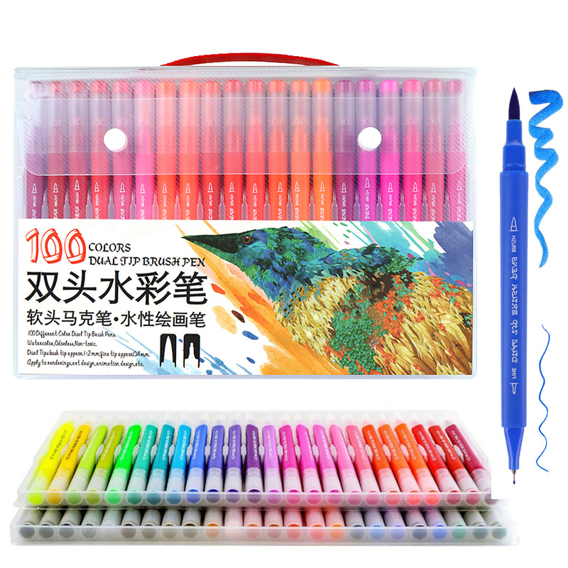 Markers Painting Pens Brush and FineLiner Drawing Watercolor Dual Tip Brush Marker Pen for Coloring Stationary Art SuppliesMarkers Painting Pens Brush and FineLiner Drawing Watercolor Dual Tip Brush Marker Pen for Coloring Stationary Art Supplies