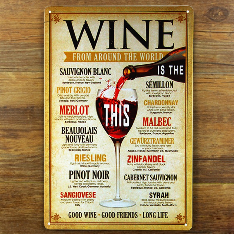 Transport gratuit O varietate de nume de vin retro Metal Poster Tin Sign for Home Bar Decor de perete, 30x20cm