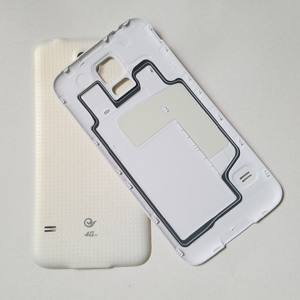 For Samsung Galaxy S5 G900F G900H G900I G900 I9600 G900T G900V Original Phone Housing Frame Back Panel Battery Cover Case White