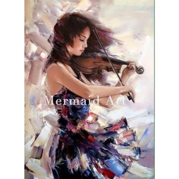 Bona Classical Style Dancing Girl Subjects Handpainted Digital Oil Painting On Canvas For Wall Artwork