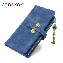 ZOBOKELA Women wallet Nubuck Leather Wallet female coin purse card holder Tassel Women Clutch Wallets Money bag Organizer purse