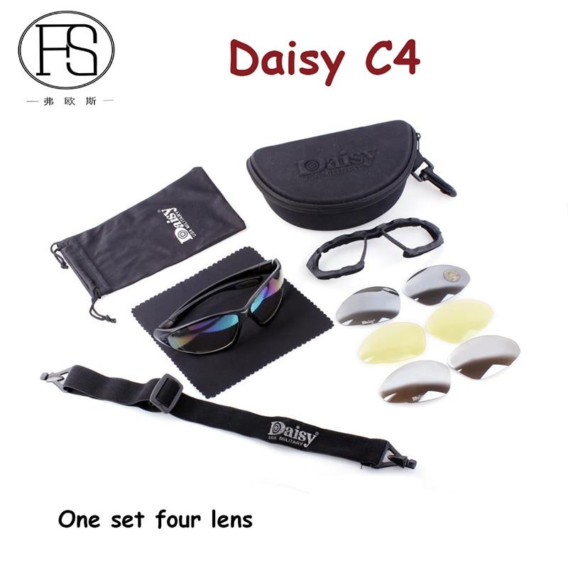 Prix pour Daisy C4 Tactique lunettes de Soleil Militaire Lunettes de Tir En Plein Air Vélo Sport Lunettes 4 Lentille Kit lunettes de Soleil Hommes Randonnée