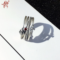 Chiang Mai Thailand Thai Silver Jewelry Handmade Silver Silver Ring Ring Opening Female Vintage Pearl Ring