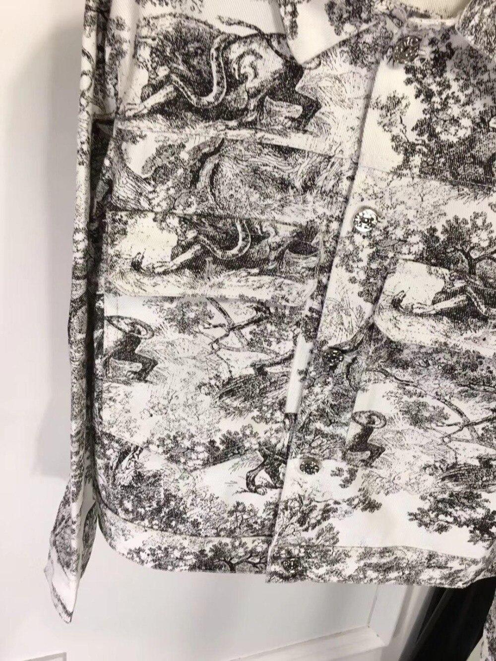 Sauvage Animal Veste Nouvelles Femmes Mode Denim De Nouveau 2019 Rétro 0306 Impression Forest Printemps Yygb7f6
