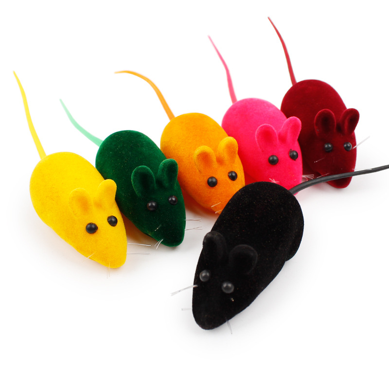5pcs/lot Cute Cat Toys Rubber False Mouse Cat Toys Interactive Rubber Cat Sound Squeak Mouse Hunter Interactive Kitty Kitten Toy
