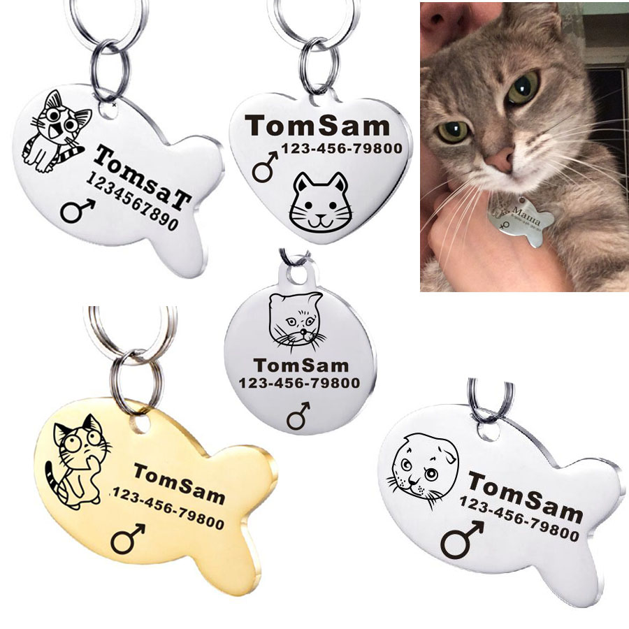 Custom Personalized Pet ID Tag for Dog and Cat Collars NINJA KITTY