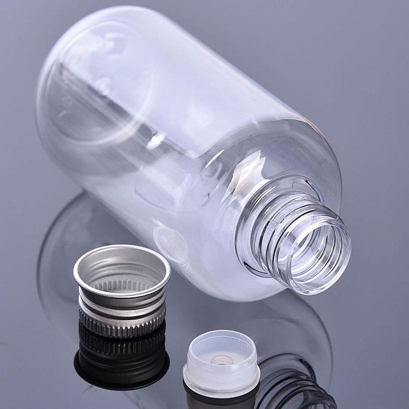 20pcs,100ml/200ml/300ml  Empty Transparent Plastic PET Bottle Cosmetic Container Aluminum Bottle Cap Liquid Plug