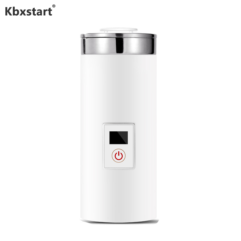 Kbxstart Portable Mini Electric Kettle Travel Thermal Insulation Teapot Heating Milk Coffee Cup Stainless steel Boiling Cup 220V Electric Kettles     -