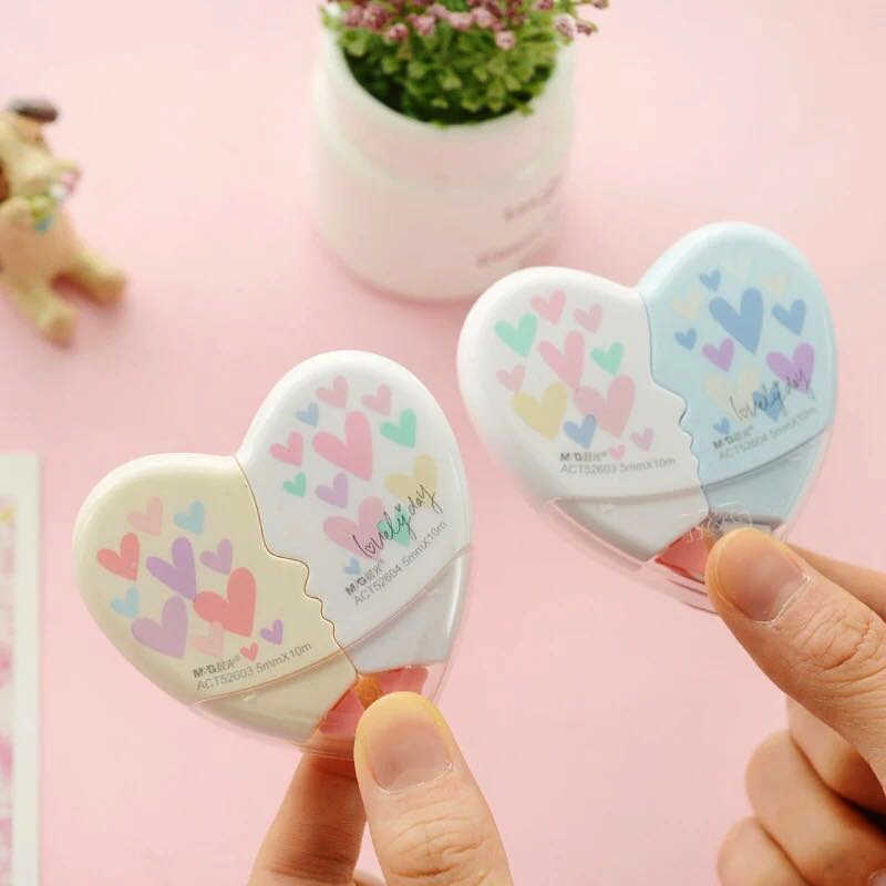 2 pcs/par amor coração correção fita material escolar kawaii papelaria escritório material escolar papelaria 10 m