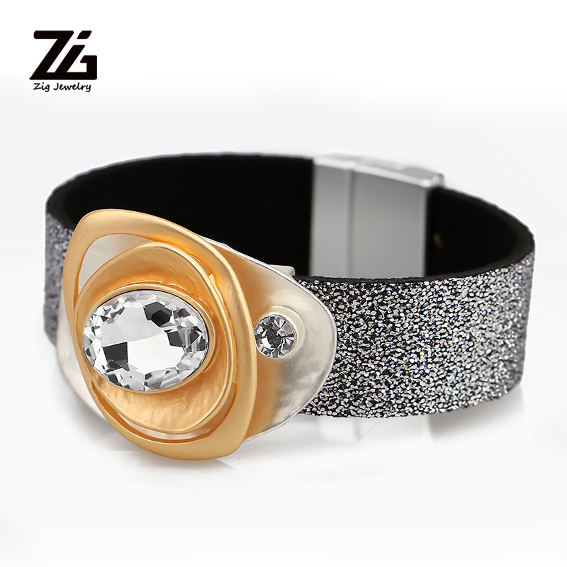 ZG Zinc Alloy Charm Crystal Bracelet leather tap bracelet with magnetic Clasp in 3 colors