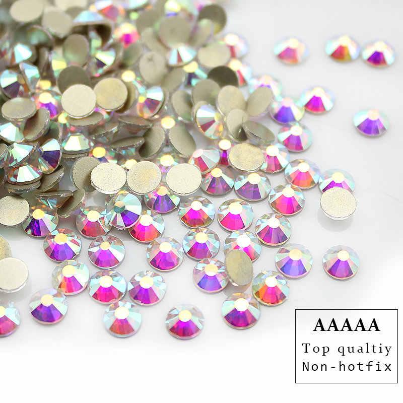 トップ品質 AAAAA プロモーション! SS3-SS30 クリスタル Ab ヒラタラインストーン鉄以外の修正プログラムグルーで光沢のあるより高輝度