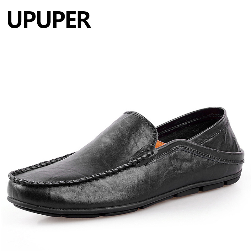 UPUPER Big Size 45 46 Summer Genuine Leather Shoes Men Casual Moccasins Mens Slip-On Loafers Breathable Driving Black Shoes dekabr new 2017 men cow suede loafers spring autumn genuine leather driving moccasins slip on men casual shoes big size 38 46