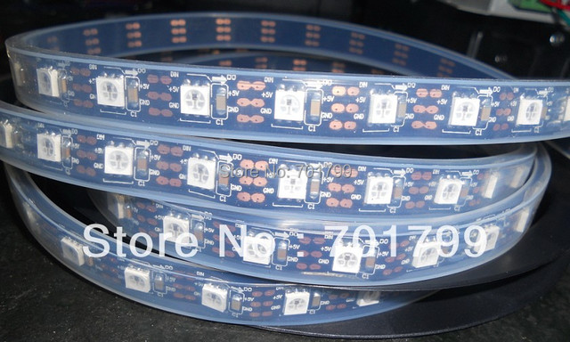 BLACK PCB 4m WS2811 LED digital strip,60leds/m with 60pcs WS2811 built-in the 5050 rgb led chip;waterproof in tube'DC5V input