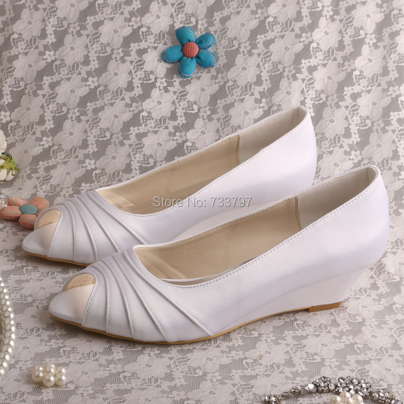 Wedopus MW506 Women Pleated White Wedding Shoes Wedge Heel Peep Toe Online Sale