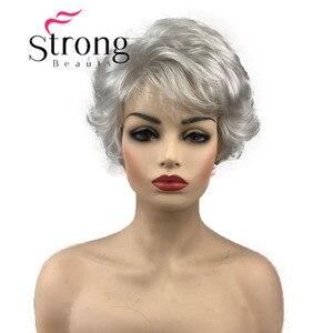 StrongBeauty короткий волнистый серебристо-серый с белым Полноразмерным синтетическим париком