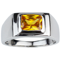Real 925 Sterling Silver Men Ring Fashion Jewelry With 7x9mm Rectangular CZ R509