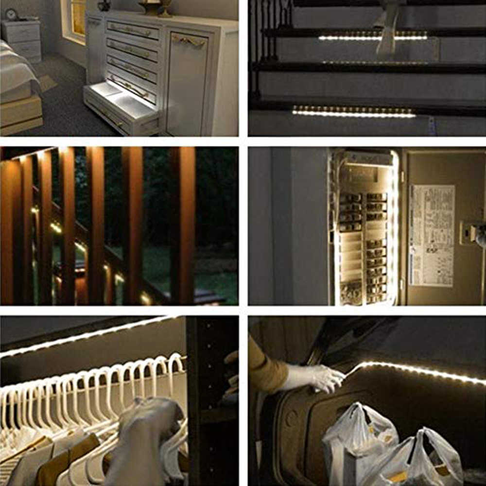 Bezprzewodowy czujnik ruchu pir LED lampka nocna na baterie moc 2835 LED Strip Bar kinkiet do szafa na ubrania szafka schody korytarz