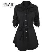 Autumn Winter Women Shirt Dress Lady Long Sleeve Stripe Party Dresses Plus Size Vestido Casual Vintage