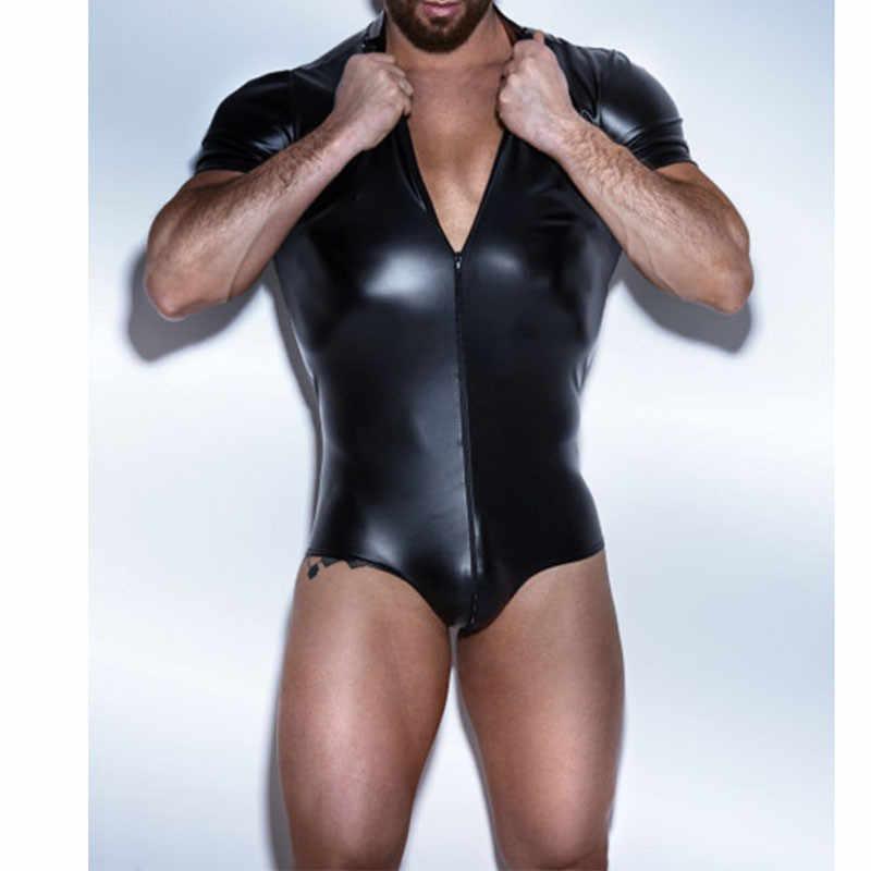 Из искусственной кожи пикантный человек экзотический Фетиш Костюм Бандаж черный молния спереди боди белье фантазийный комбинезон