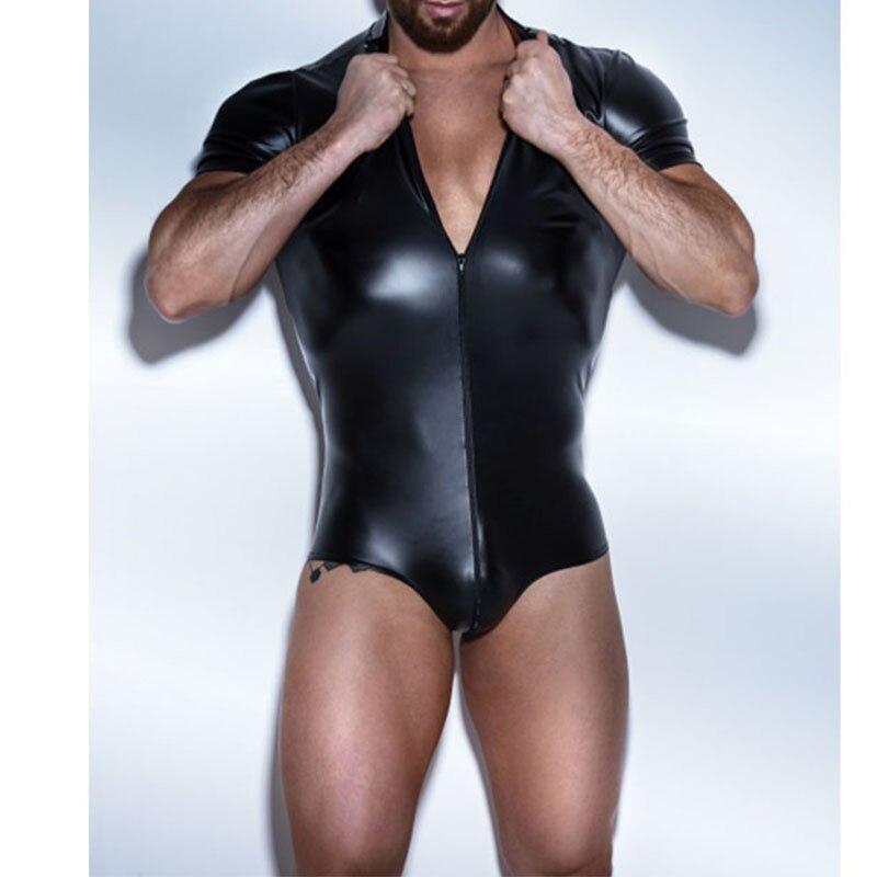 Faux Leather Sexy Man Exotic Fetish Bondage Costume Black Zipper Front Bodysuit Lingerie Fantasy Jumpsuit