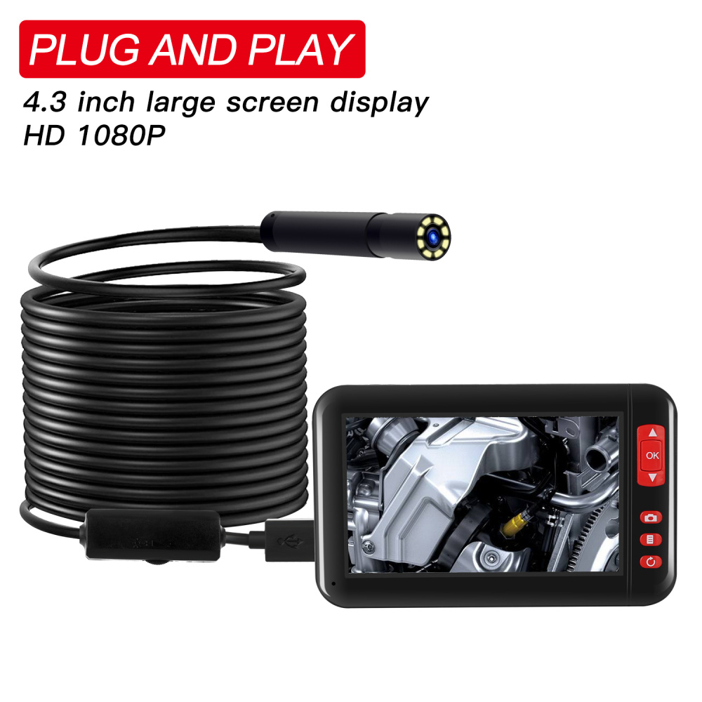 Digital Industrial Endoscope 4.3 inch LCD Borescope Videoscope with CMOS Sensor Semi-Rigid Inspection Camera 8MM 1080P Endoscope