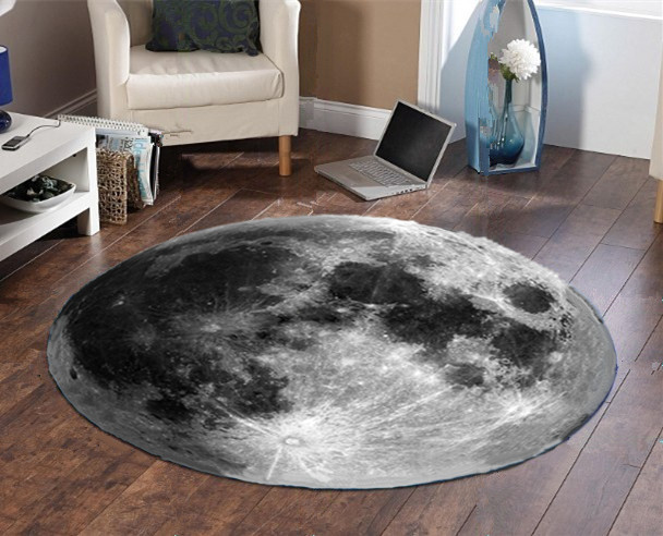 <font><b>3D</b></font> Earth Moon Round Carpet <font><b>Tapetes</b></font> Para Casa Sala Round Rug for Living Room Kids Boy Bedroom Chair Circular Floor Mat Rugs Home image