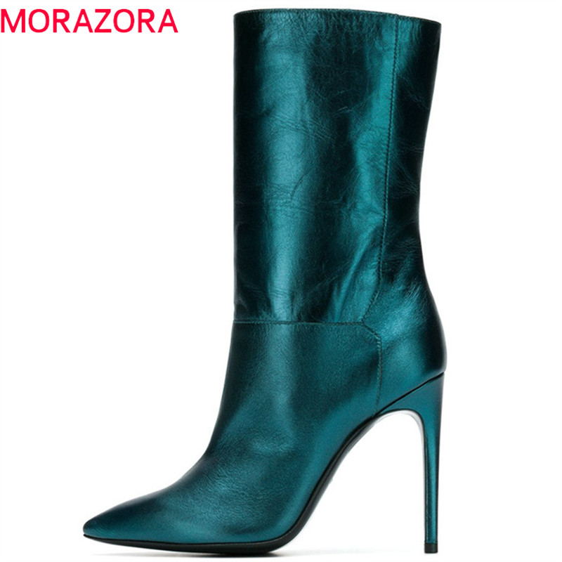 MORAZORA 2019 new arrival ankle boots for women top quality pu pointed toe boots slip on