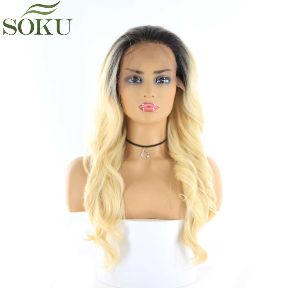 Blonde Synthetic Lace Front Wigs With Baby Hair SOKU Wavy Free Part Wigs Glueless Heat Resistant Fiber Wigs For Black Women