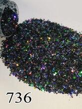 1瓶/ボックス10ミリリットル5グラム黒ホログラフィックレーザーグリッター光沢のある爪ジェルネイル用のグリッターパウダーアートクローム顔料736 704 735