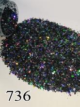 1 צנצנת/תיבת 10ml סביב 5g שחור הולוגרפית לייזר גליטר מבריק נייל גליטר אבקה לציפורני ג ל אמנות כרום פיגמנט 736 704 735