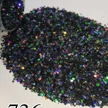 Laser Glitter Nail Chrome Pigment Black Holographic Shiny 5g 10ml Around for Gel 736/704/735