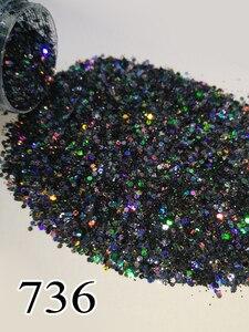 Image 1 - Poudre scintillante holographique Laser pour vernis à ongles Gel et Nail Art, pigments chromés 736, 704 735, 10ml par boîte, environ 5g